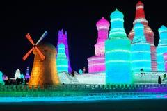 Escultura de hielo en Harbin Foto de archivo libre de regalías