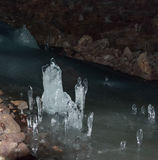 Escultura de hielo en Lofthellir, Islandia Imagen de archivo