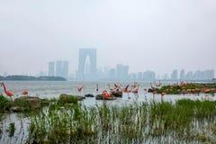 Escultura de la ciudad del lago suzhou Jinji --- Flamenco Fotos de archivo libres de regalías