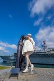 Escultura de la entrega incondicional en el puerto marítimo Imagen de archivo