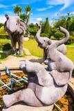 Escultura de la familia del elefante Fotos de archivo libres de regalías