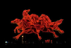Escultura de la iluminación del caballo Fotografía de archivo