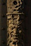 Escultura de madera de la cara del ` s del diablo Imagen de archivo