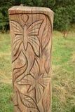 Escultura de madera de la mariposa imágenes de archivo libres de regalías