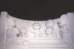 Escultura de neve da animação japonesa Fotografia de Stock Royalty Free