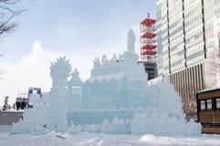 Escultura de nieve de la pista de la princesa del ~ del hielo de las alas blancas en el festival de nieve de Sapporo 2013 Imagen de archivo libre de regalías