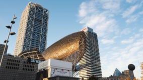 Escultura de oro de los pescados del ½ s del ¿de Frank Gehryï almacen de metraje de vídeo