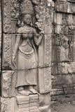 Escultura de pedra de Devata, templo de Banteay Kdei, Angkor Wat Imagem de Stock Royalty Free