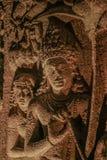 Escultura de pedra em cavernas de Ajanta foto de stock royalty free