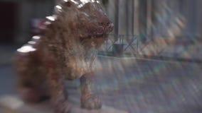 Escultura de um leão na praça San Marco, raios de luz um efeito, um borrão e uma tonificação incomuns vídeos de arquivo