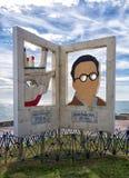 Escultura dedicada a Emilio Prados Poet El Palo, Espanha fotos de stock