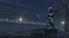 Escultura del cupido en el parque del otoño de la noche libre illustration