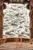 Escultura del dragón en la pared del templo Fotografía de archivo libre de regalías
