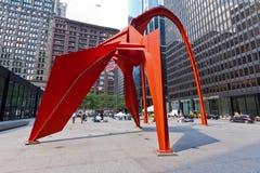 Escultura del flamenco en Chicago Imagenes de archivo