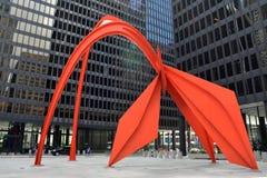 Escultura del flamenco en Chicago Foto de archivo libre de regalías