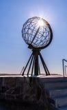 Escultura del globo de Nordkapp Imágenes de archivo libres de regalías