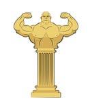 Escultura del griego clásico del atleta Hombre fuerte del cuerpo en columna Foto de archivo libre de regalías