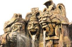 Escultura del guerrero del maya Fotografía de archivo