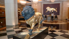 Escultura del león del casino del hotel de MGM de Macao Fotos de archivo libres de regalías