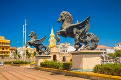 Escultura del Los Pegasos en las calles hermosas de Imagen de archivo
