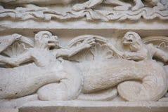 Escultura del tímpano del juicio pasado Foto de archivo