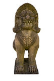 Escultura dianteira do singha no templo no fundo branco Imagens de Stock Royalty Free