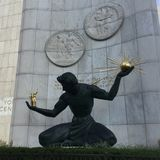 Escultura do centro de Detroit fotografia de stock