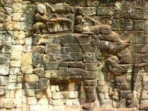 Escultura do elefante em Ankgor Thom em Camboja Imagens de Stock