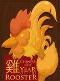 Escultura do galo chinês do ` s do zodíaco pelo ano novo, ilustração do vetor ilustração stock