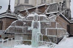 Escultura do gelo de um dragão Foto de Stock Royalty Free