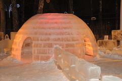 Escultura do gelo de um dragão Fotos de Stock