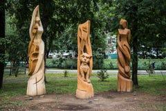 Escultura do parque feita da madeira imagens de stock