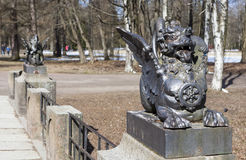 Escultura Dragon Bridge Cidade Pushkin Rússia fotografia de stock