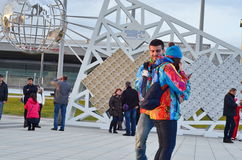 Escultura em Sochi, Federação Russa do globo fotos de stock royalty free
