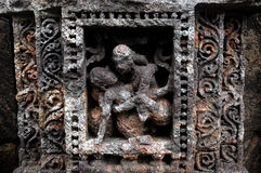 Escultura indiana erótica do templo Fotos de Stock Royalty Free