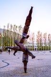 Escultura moderna original en el banco del río foto de archivo