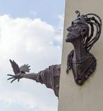 Escultura no quadrado do townhall, Jelenia Gora, Polônia fotos de stock
