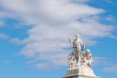 Escultura parte del monumento de维托里奥・埃曼努埃莱・迪・萨伏伊,阿尔塔雷della帕特里亚,威尼斯广场,罗马意大利 免版税库存图片