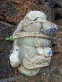 A escultura principal gigante pequena decora por partes de porcelana chinesa colorida Fotografia de Stock