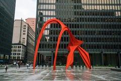 Escultura roja del flamenco en Chicago Imágenes de archivo libres de regalías
