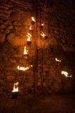 Escultura singular das luzes e do fogo no festival do fogo fotografia de stock