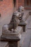Escultura tallada piedra del león de la diosa Imagen de archivo