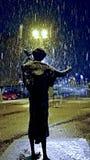 Escultura urbana na neve Imagem de Stock
