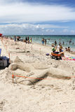 Esculturas da areia na praia Imagem de Stock