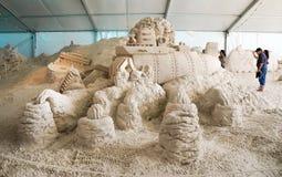 Esculturas da areia no cais 60 Sugar Sand Festival Imagem de Stock