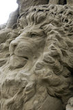 Esculturas da areia - o leão Fotografia de Stock Royalty Free