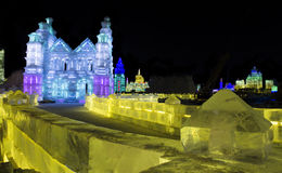 Esculturas de gelo no gelo de Harbin e no mundo da neve em Harbin China Fotos de Stock