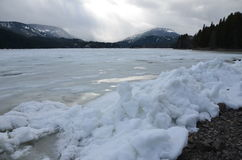Esculturas de hielo conducidas viento, lago Rimrock, paso blanco, Washington State Fotos de archivo