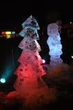 Esculturas de hielo de la Navidad Imagenes de archivo