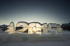 Esculturas de hielo 2015 en la puesta del sol foto de archivo